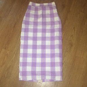 Purple check high waist skirt